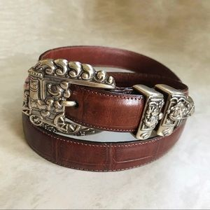 Brighton Mickey & Co. Leather Train Buckle Belt
